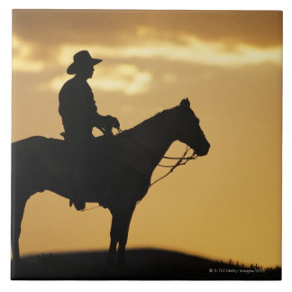 Silhouette of cowboy on horseback at sunset or tile