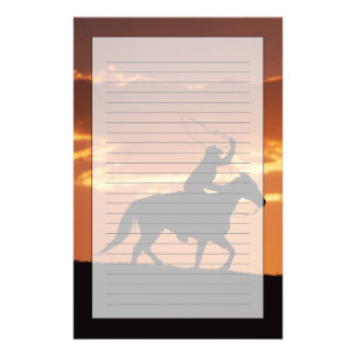 Silhouette of cowboy on horseback near Fairplay, Stationery