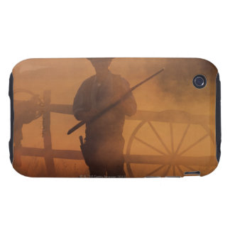 Silhouette of cowboy with rifle in hand tough iPhone 3 cover