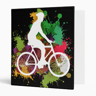 Silhouette of Cyclist on Multi Paint Splatter 3 Ring Binder