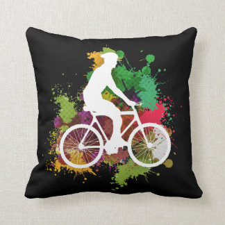 Silhouette of Cyclist on Multi Paint Splatter Throw Pillow