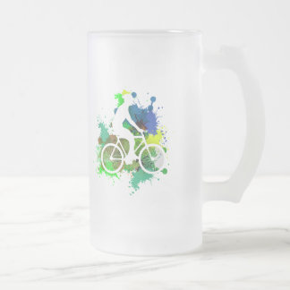 Silhouette of Cyclist on MultiPaint Splatters V2 Frosted Glass Beer Mug