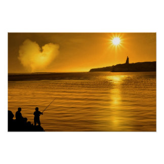 silhouette of father and son loving fishing in Ire Poster