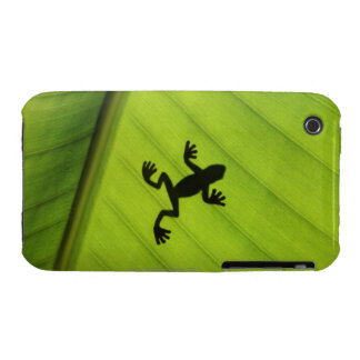 Silhouette of frog through banana leaf iPhone 3 Case-Mate case