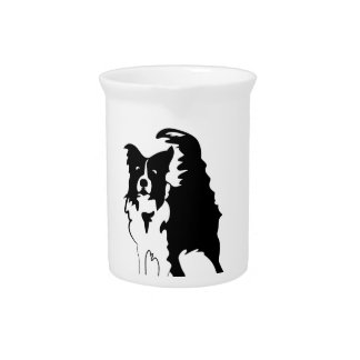 Silhouette of funny playful little puppy DOG Beverage Pitcher