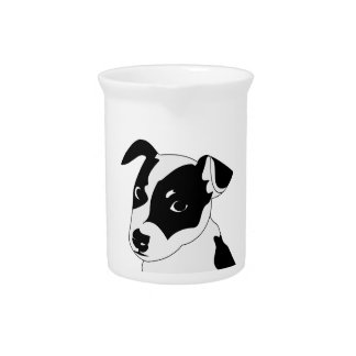 Silhouette of funny playful little puppy DOG Drink Pitcher