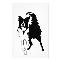 Silhouette of funny playful little puppy DOG Stationery