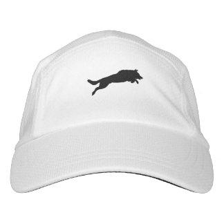 Silhouette of German Shepherd Dog Jumping over Headsweats Hat