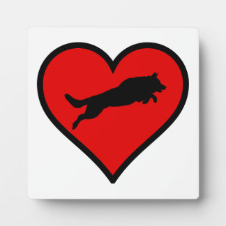 Silhouette of German Shepherd Jumping on heart Display Plaque