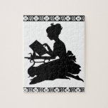 Silhouette of Girl Reading Puzzle