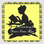 Silhouette of Girl Reading - Square Lemon Yellow Square Sticker