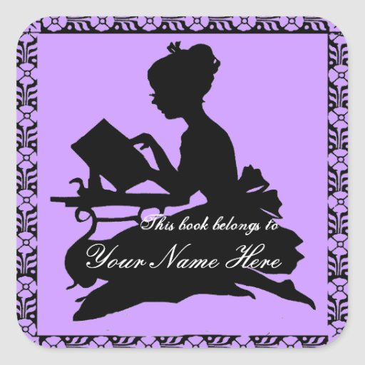 Silhouette of Girl Reading - Square Violet Sticker