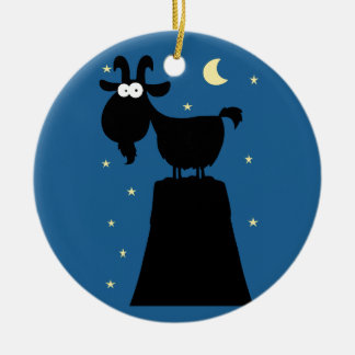 Silhouette of Goat on Mountain Ceramic Ornament