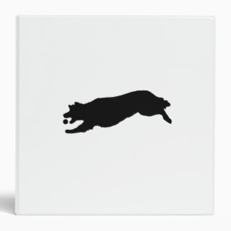 Silhouette of Golden Retriever Dog Fetching Ball 3 Ring Binders