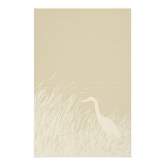 Silhouette of Great Blue Heron in marsh grass Stationery