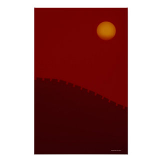 Silhouette of Great Wall of China Poster