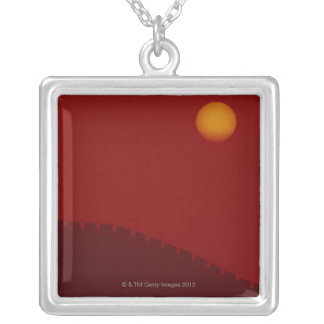 Silhouette of Great Wall of China Square Pendant Necklace