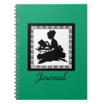 Silhouette of Gril Reading  Blank Book - turquoise Journals