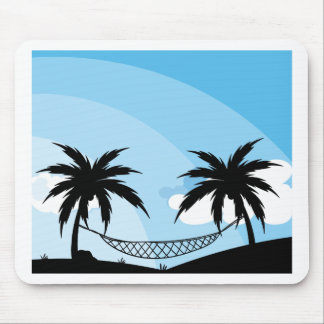 Silhouette of hammock between trees mouse pad