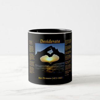 Silhouette of hands making a heart in yellow Two-Tone coffee mug