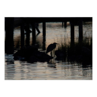 Silhouette of Heron on Chincoteague at Sunset Posters
