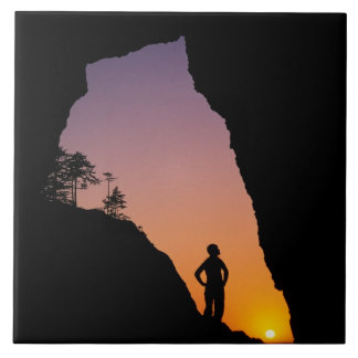Silhouette of hiker, Point of the Arches, Ceramic Tile