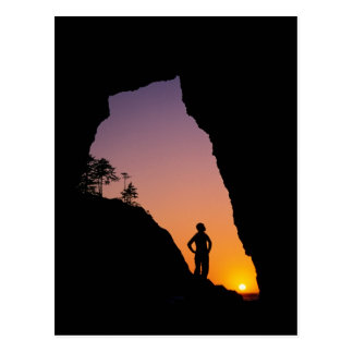 Silhouette of hiker, Point of the Arches, Postcard