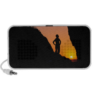 Silhouette of hiker, Point of the Arches, Laptop Speakers