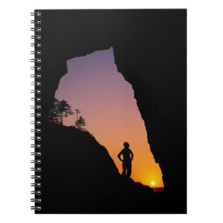 Silhouette of hiker, Point of the Arches, Spiral Notebook