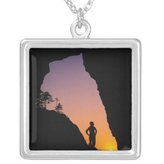 Silhouette of hiker, Point of the Arches, Square Pendant Necklace