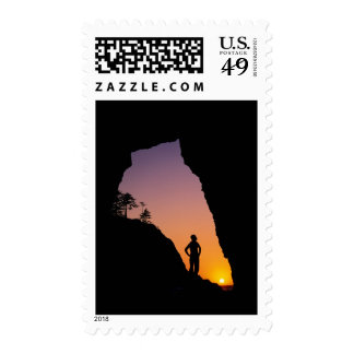 Silhouette of hiker, Point of the Arches, Stamp