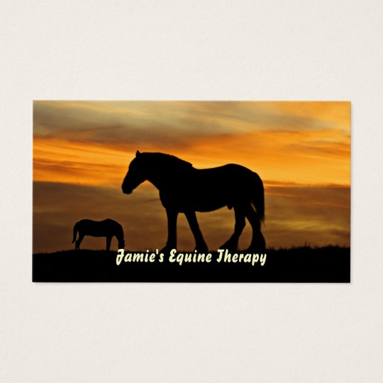Silhouette of Horses at Sunset Equine Therapist Business Card