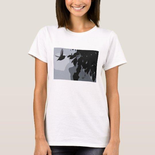 Silhouette Of Hummingbird & Fushia Shirt