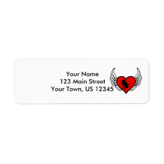 Silhouette of Hunting Retriever on winged heart Return Address Label