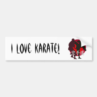 Silhouette of Karate fight, red circle background. Bumper Sticker