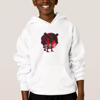 Silhouette of Karate fight, red circle background. Hoodie