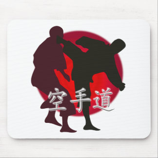 Silhouette of Karate fight, red circle background. Mouse Pad