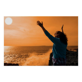 silhouette of lone woman facing a powerful  wave poster