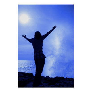 silhouette of lone woman facing a wave on cliff poster