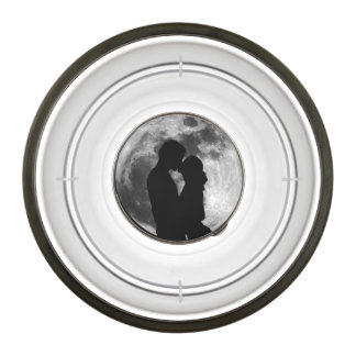 Silhouette of lovers in a full moon at night pet bowl