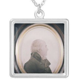 Silhouette of Major Lewis Painted on Convex Silver Plated Necklace