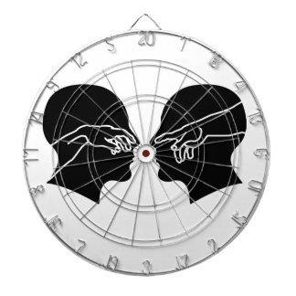 Silhouette of male faces with hands dart board