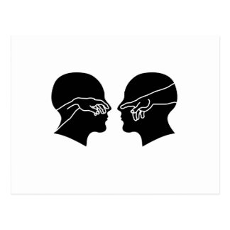 Silhouette of male faces with hands postcard