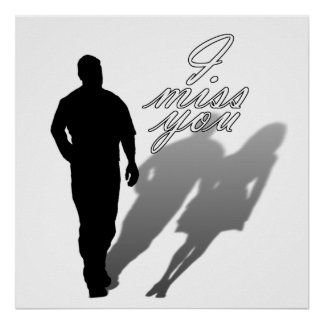 Silhouette of Man Missing Woman Poster