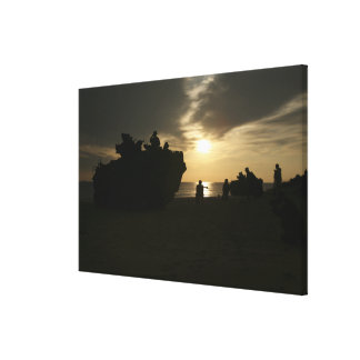 Silhouette of Marines Gallery Wrap Canvas