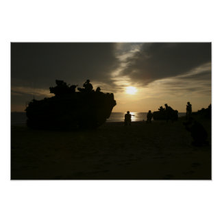Silhouette of Marines Posters