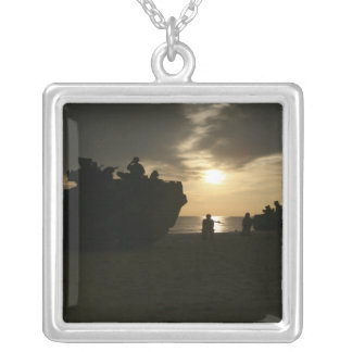 Silhouette of Marines Silver Plated Necklace
