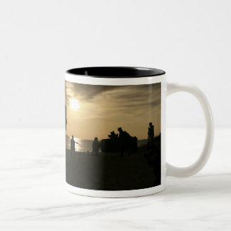 Silhouette of Marines Two-Tone Coffee Mug