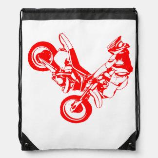 Silhouette of motorcycle drawstring bag