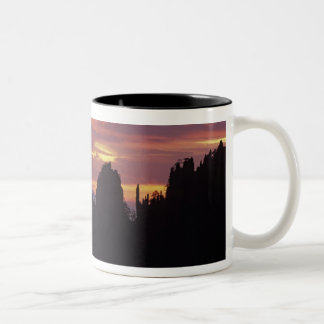 Silhouette of Mt. Huangshan (Yellow Mountain) at Two-Tone Coffee Mug